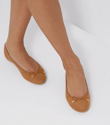 Tan Suedette Ballet Pumps New Look