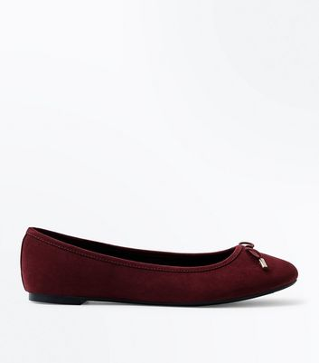 Deep Red Suedette Ballet Pumps New Look