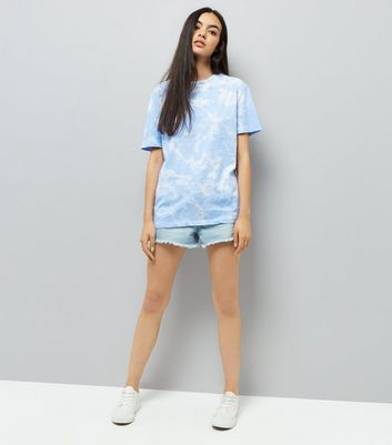 Blue Tie Dye Boyfriend T-Shirt New Look