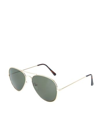 Gold Pilot Sunglasses New Look