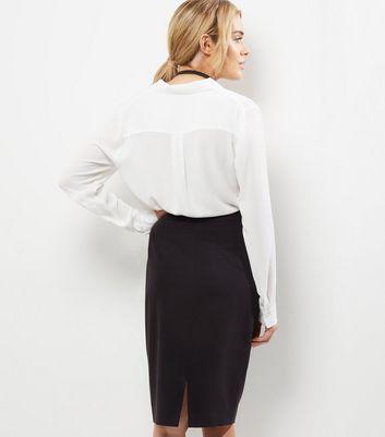 Black Suit Split Back Midi Skirt New Look