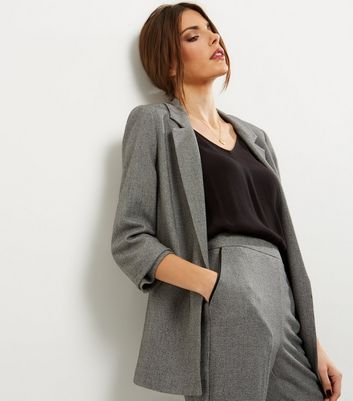 Grey Ruched Sleeve Blazer New Look