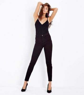 Black Super Skinny High Waist Hallie Jeans New Look