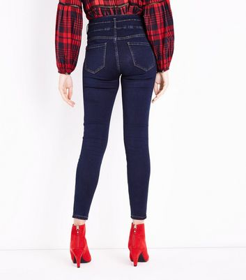 Dark Blue High Waist Skinny Yazmin Jeans New Look
