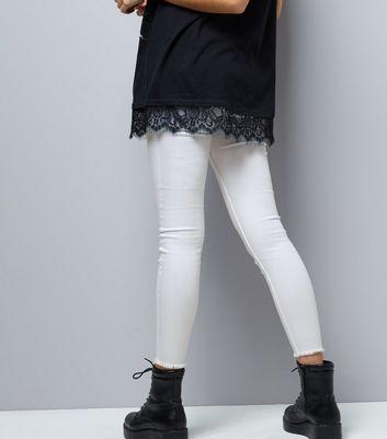 White High Waist Super Skinny Fray Hem Jeans New Look
