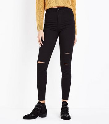 Black Super High Waist Super Skinny Ripped Knee Hallie Jeans New Look