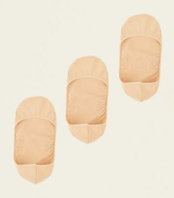 3 Pack Nude Invisble Pop Socks New Look
