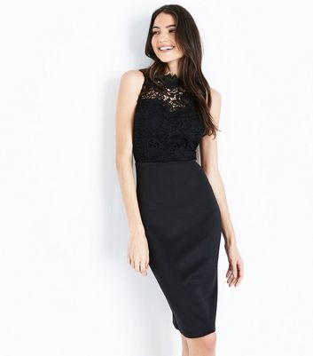 AX Paris Black Lace Bodice Midi Dress New Look