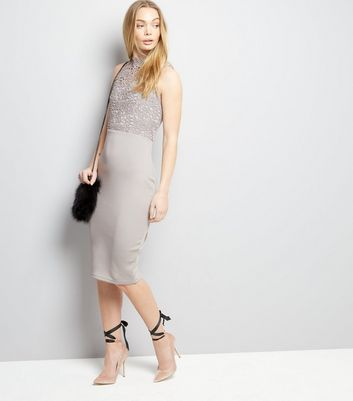 AX Paris Grey Lace Neck Midi Dress New Look
