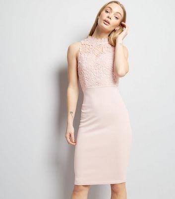 AX Paris Pink Lace Neck Midi Dress New Look