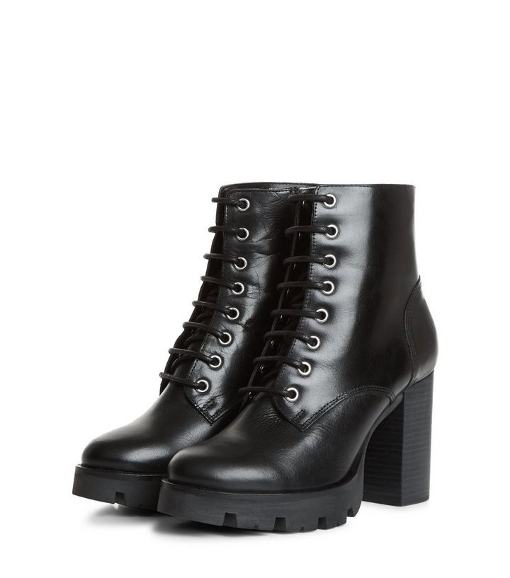 b4e03c1d2a Wide Fit Black Leather Chunky Lace Up Boots | New Look