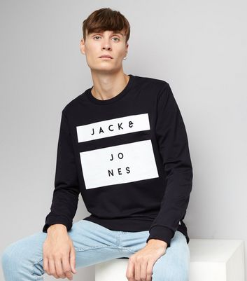 Navy Premium Jack & Jones Box Print Sweater New Look