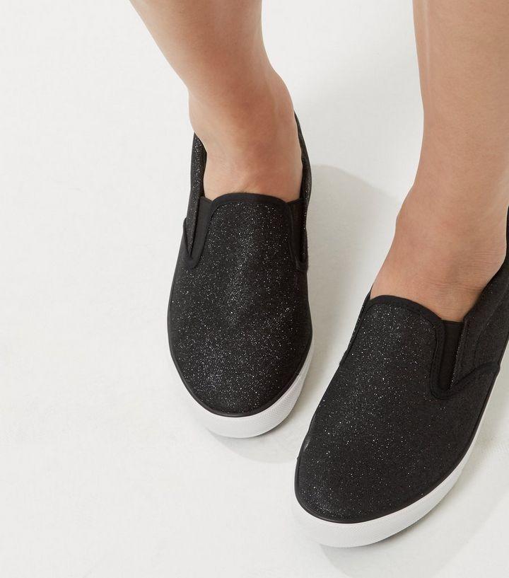 23ccb8969366 Wide Fit Black Glitter Slip On Plimsolls | New Look