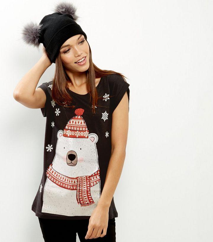 b5d1428f46a Black Christmas Polar Bear T-Shirt