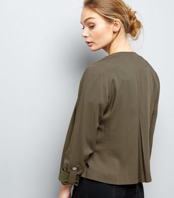 Khaki Waterfall Rolled Sleeve Blazer New Look