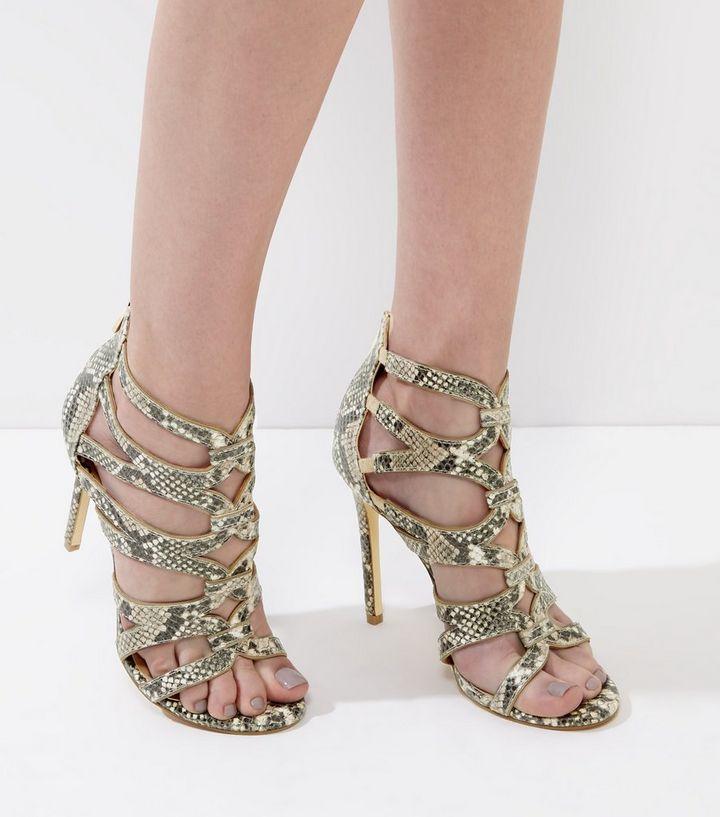05c6a382f32 Cream Snakeskin Strappy Heeled Sandals