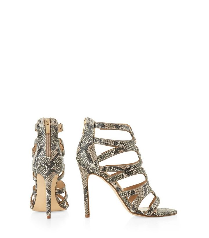 790242ade57b ... Cream Snakeskin Strappy Heeled Sandals. ×. ×. ×. VIDEO Shop the look