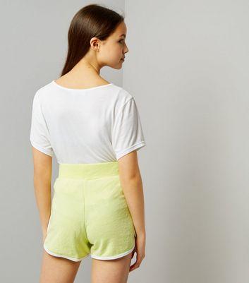 Teens Neon Green Brooklyn 98 Print Shorts New Look