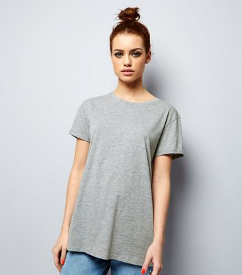 Petite Grey Oversized T-Shirt New Look