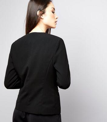 Black Zip Trim Blazer New Look