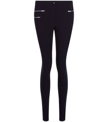Black Zip Front Bengaline Slim Leg Trousers New Look
