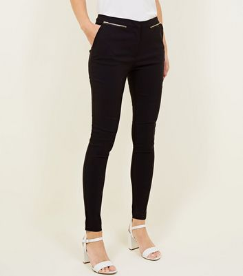 Black Zip Side Bengaline Slim Leg Trousers New Look