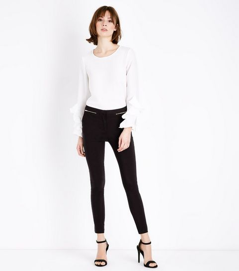 40512b56726f ... Black Short Length Zip Side Slim Leg Stretch Trousers ...