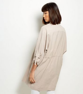 Stone Waterfall Duster Jacket New Look