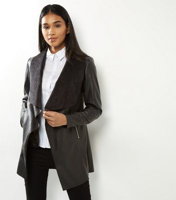 Black Leather Look Longline Waterfall Jacket New Look