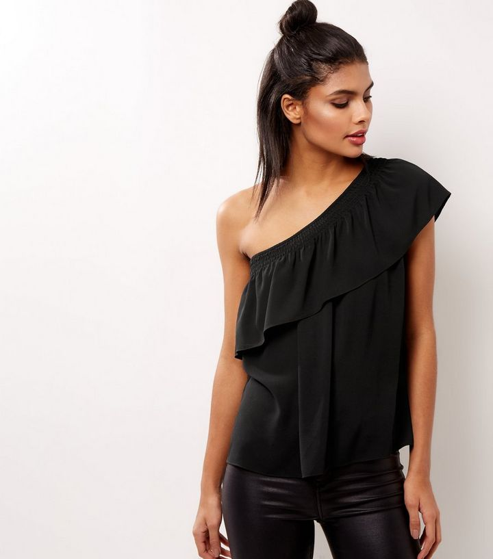 0bbb2851bed Black Off The Shoulder Frill Trim Top | New Look