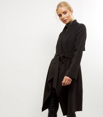Black Waterfall Belted Duster Coat New Look