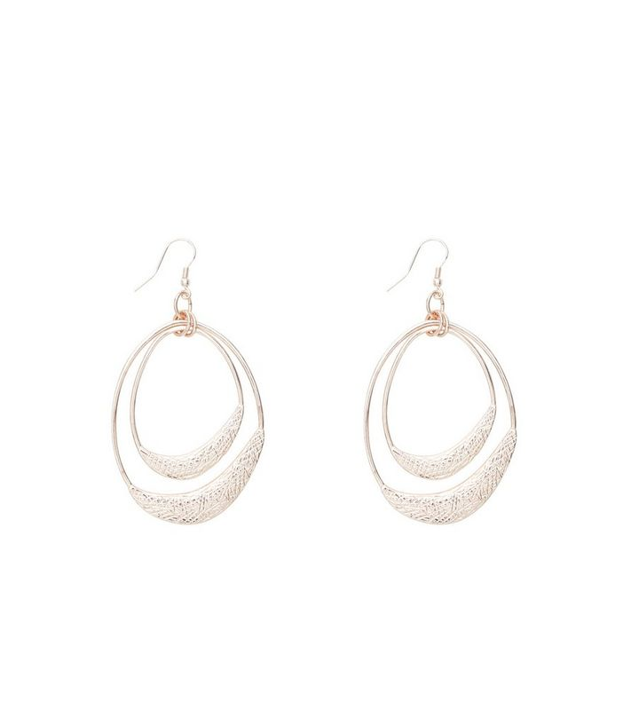 038839ff3 Rose Gold Textured Layered Drop Earrings | New Look