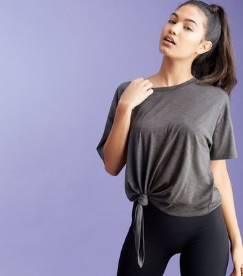 Dark Grey Knot Side Short Sleeve Sports T Shirt Add to Saved Items Remove from Saved Items