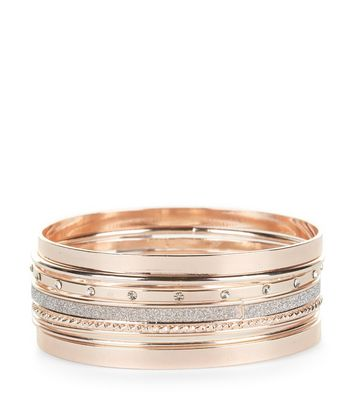 7 Pack Rose Gold Bangles New Look