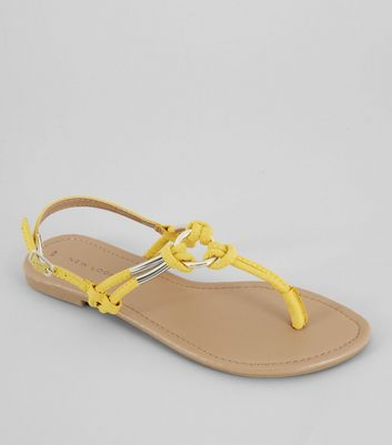 Yellow Metal Ring Toe Post Sandals New Look