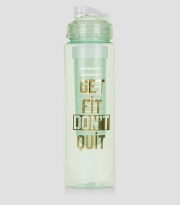 Mint Green Get Fit Don't Quit Infuser Water Bottle New Look