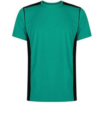 Green Panelled Running T-Shirt New Look