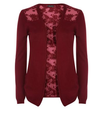 Burgundy Lace Back Cardigan New Look