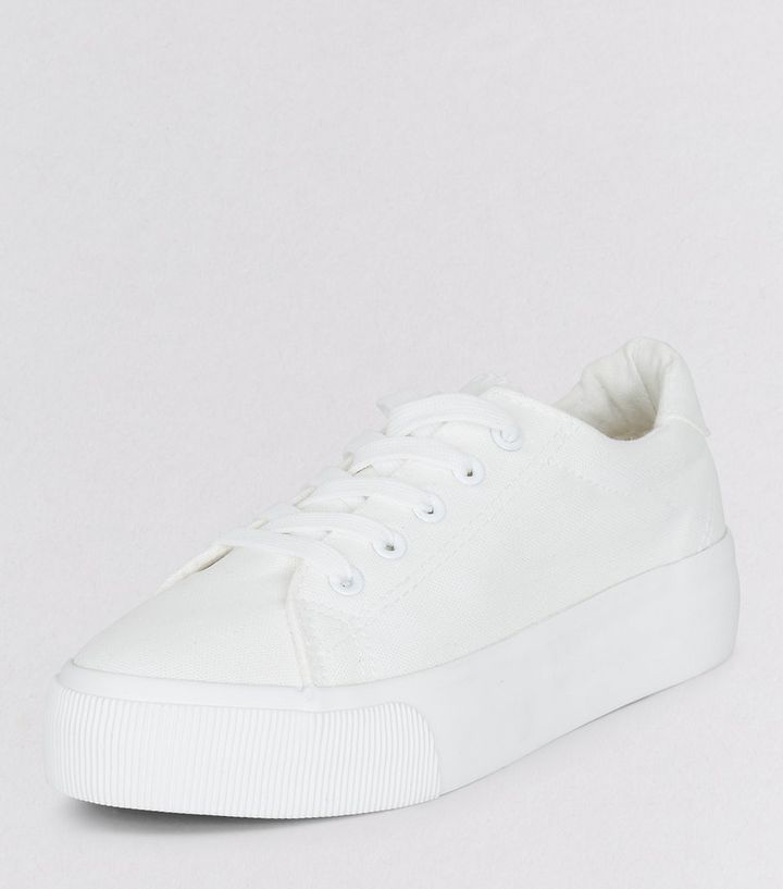 713dd26b6a1 White Lace Up Platform Trainers