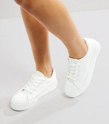 White Lace Up Platform Trainers   New Look
