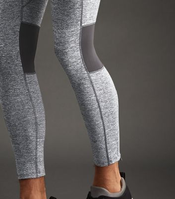 Grey Marl Mesh Panel Running Tights New Look