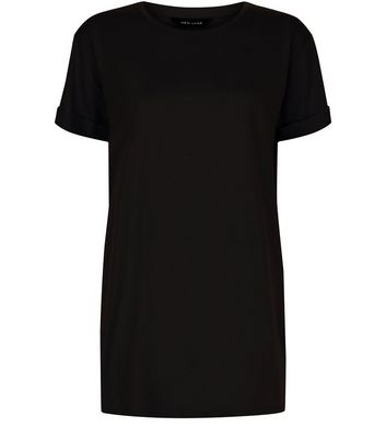 Black Roll Sleeve Boyfriend T-Shirt New Look