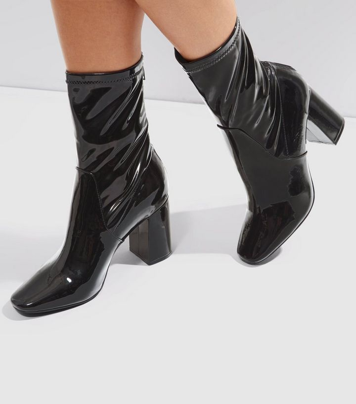 bright in luster for whole family sophisticated technologies Black Patent High Ankle Boots Add to Saved Items Remove from Saved Items