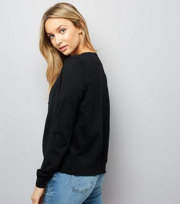 Black Long Sleeve Crew Neck Cardigan New Look