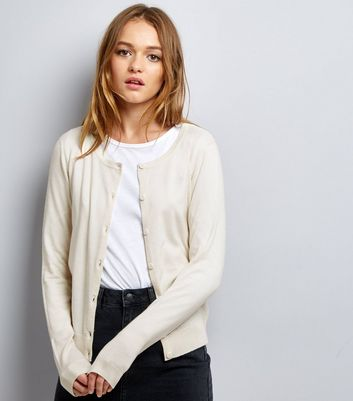 Cream Crew Neck Cardigan New Look