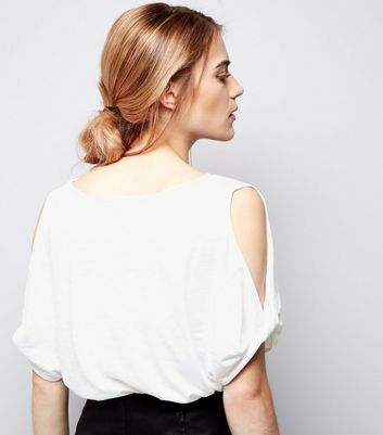 White Twist Cold Shoulder T-Shirt New Look