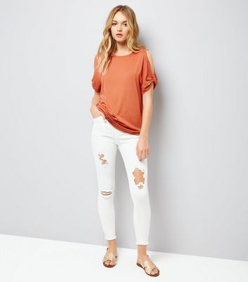 Orange Twist Sleeve Cold Shoulder T-Shirt New Look