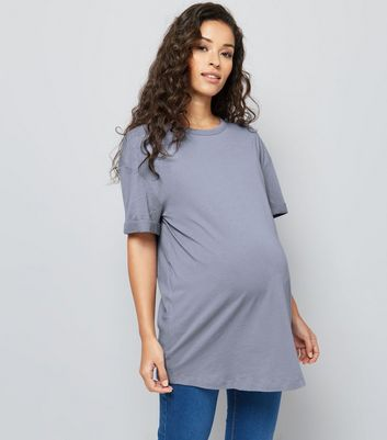 Maternity Blue Rolled Sleeve Oversized T-shirt New Look