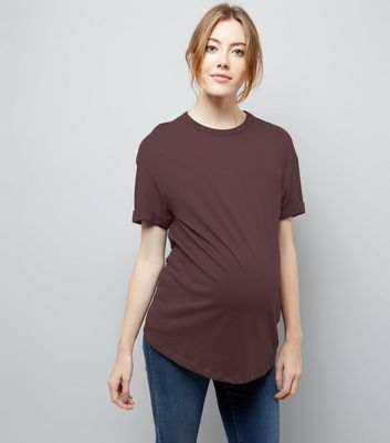 Maternity Burgundy Rolled Sleeve Oversized T-shirt New Look