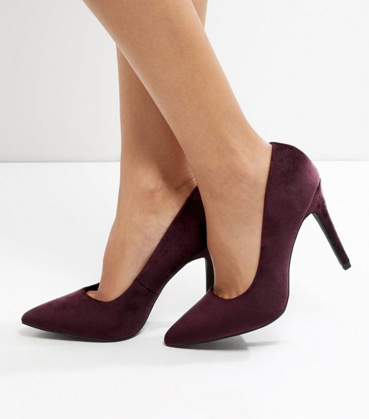 2d3c75ee99792 Wide Fit Dark Purple Velvet Pointed Court Shoes Add to Saved Items Remove  from Saved Items